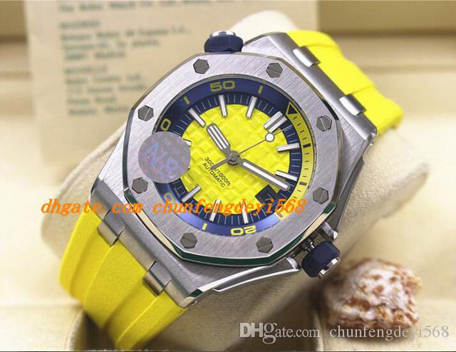 Luxury Wristwatch Diver ST.OO.A051CA.01 Yellow Rubber Bracelet Automatic Watch Men Watches Top Quality New Arrival