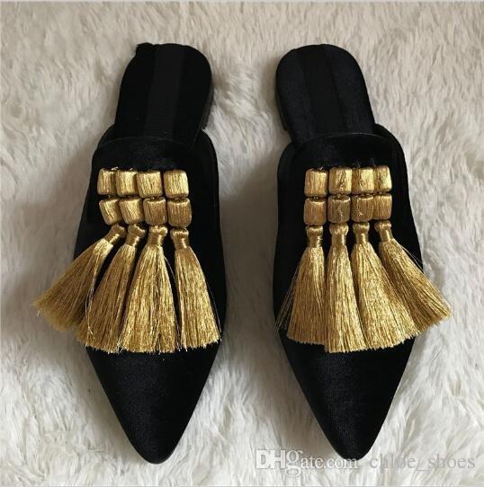 Sandali fatti a mano con nappe Pantofole estate gladiatore Sandali con frange in velluto casual Scarpe basse donna con punta a punta Slides Mocassini