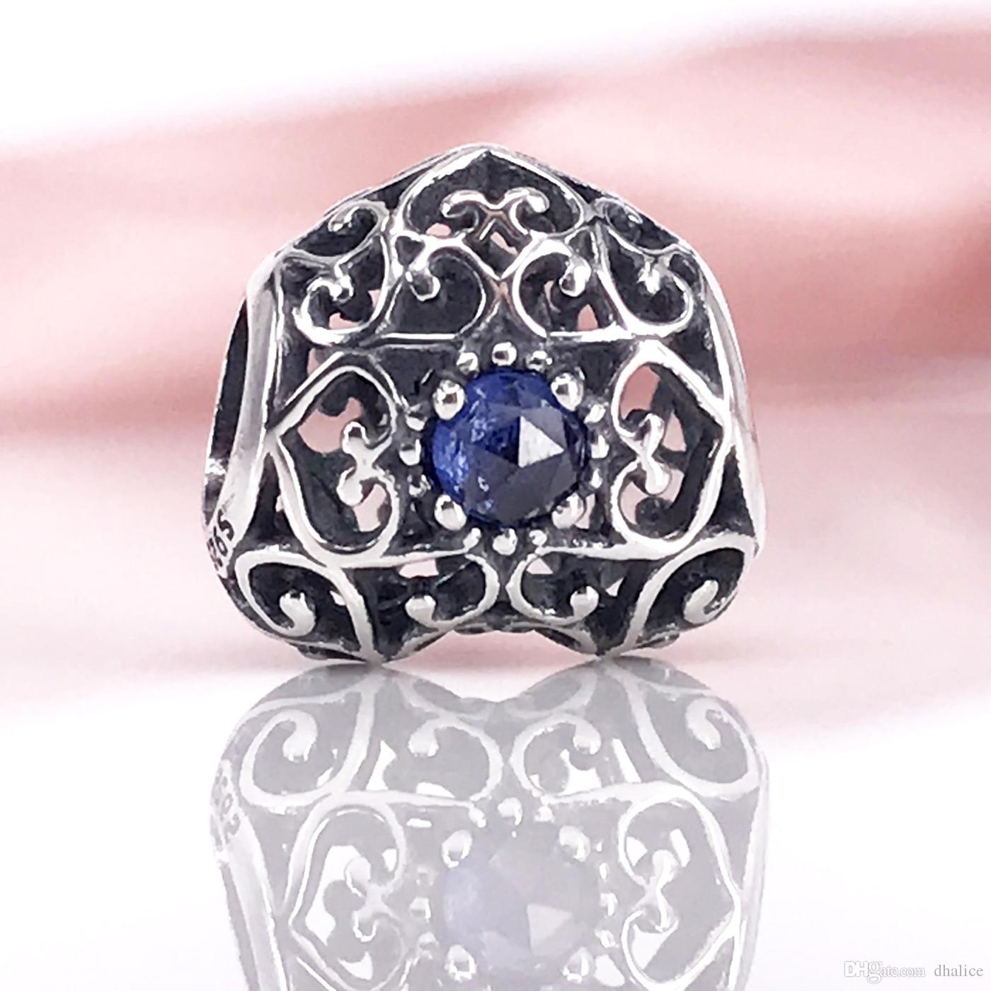 Autentico cuore in argento sterling 925 settembre, zaffiro sintetico adatto braccialetto Pandora fai da te e collana 791784SSA