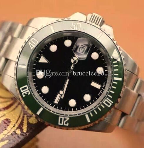 Classic New Men Luxury Automatic Watch Stainless Steel Green Ceramic Bezel Water Resistant Mens Mechanical Wrist watches Free Shipping