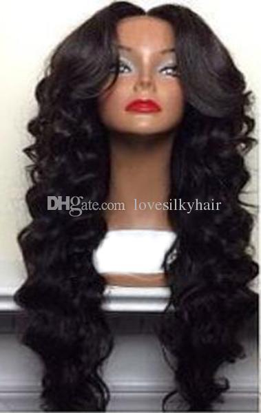 Beauté chaude vente vague perruque Simulation Cheveux Humains longue vague lâche pleine perruques avec partie centrale livraison gratuite