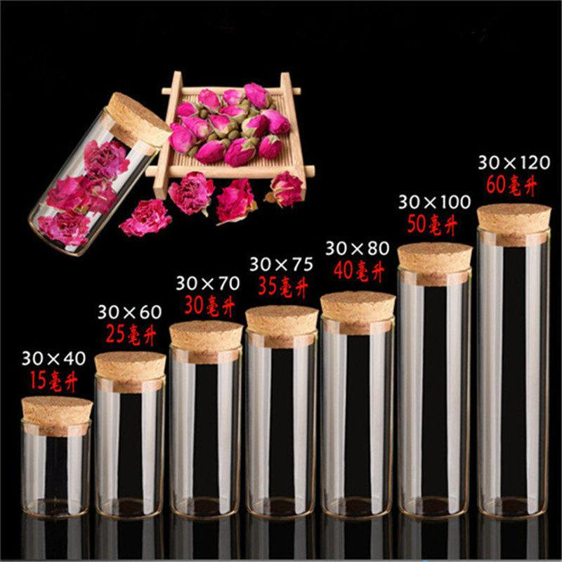 Glass Vials Jars Test Tube With Cork Stopper Empty Glass Transparent Clear Bottle