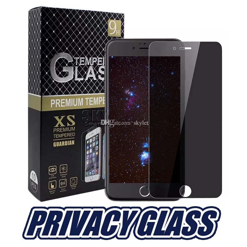 IphoneX 개인 정보 보호 강화 유리 화면 보호기 안티 스파이 커버 쉴드 LS775 LS770 삼성 S6 S7 소매 패키지