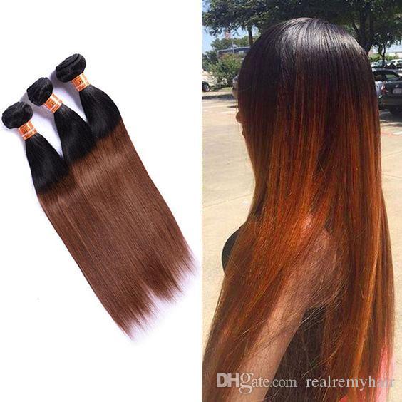 Brazilian Ombre Human Hair 3 Bundles Two Tone 1B/30 Auburn Brown Hair Weave Cheap Brazilian Straight Virgin Human Hair Extensions