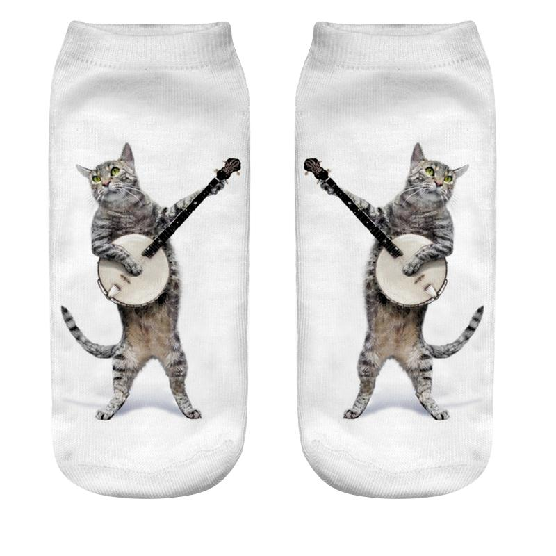 Wholesale- 3D Guitarist Cat Printing Socks Cotton Polyester Casual Sock Unisex Low Ankle Sock 19cm*8cm 1 Pair Christmas Gift Wholesales