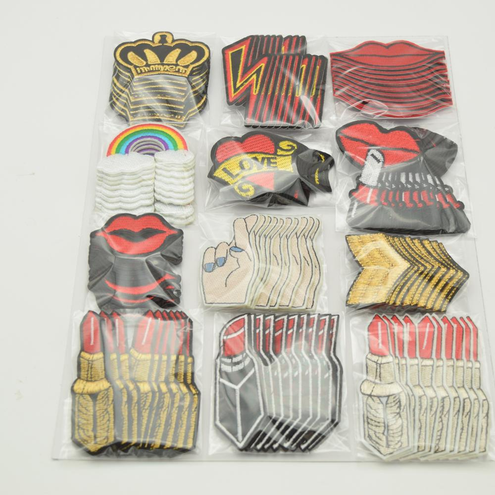 Mixed Boca / coroa / Lipstick / arco-íris bordado Sew On / Iron On Patches Set emblema Saco tecido do aplique Craft