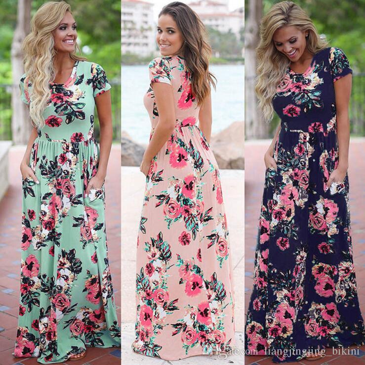 Femmes imprimé floral robe à manches courtes Boho robe de soirée longue fête Maxi robe d'été Sundress Vêtements de OOA3238