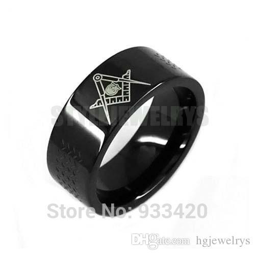 Free shipping! Classic Black Masonic Biker Ring Stainless Steel Jewelry Freemasonry Masonic Motor Biker Men Ring SWR0528B