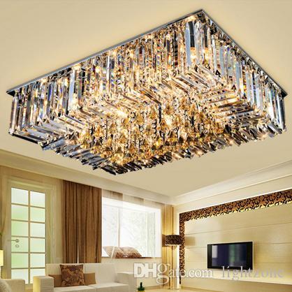 Dim kristal avizeler modern yaratıcı high end K9 kristal dikdörtgen tavan avize aydınlatma armatürü oturma odası yatak odası otel