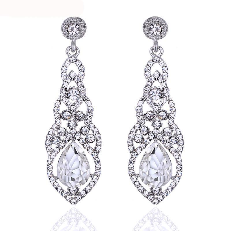Mecresh أقراط الزفاف الكريستال للنساء فضية اللون العرسان أقراط طويلة مجوهرات اكسسوارات الزفاف EH444