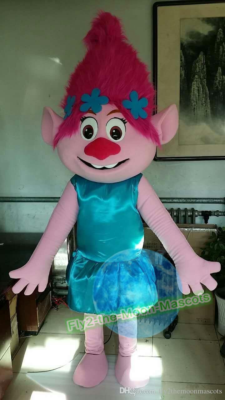 troll poppy troll pink princess troll mascot costume fancy dress