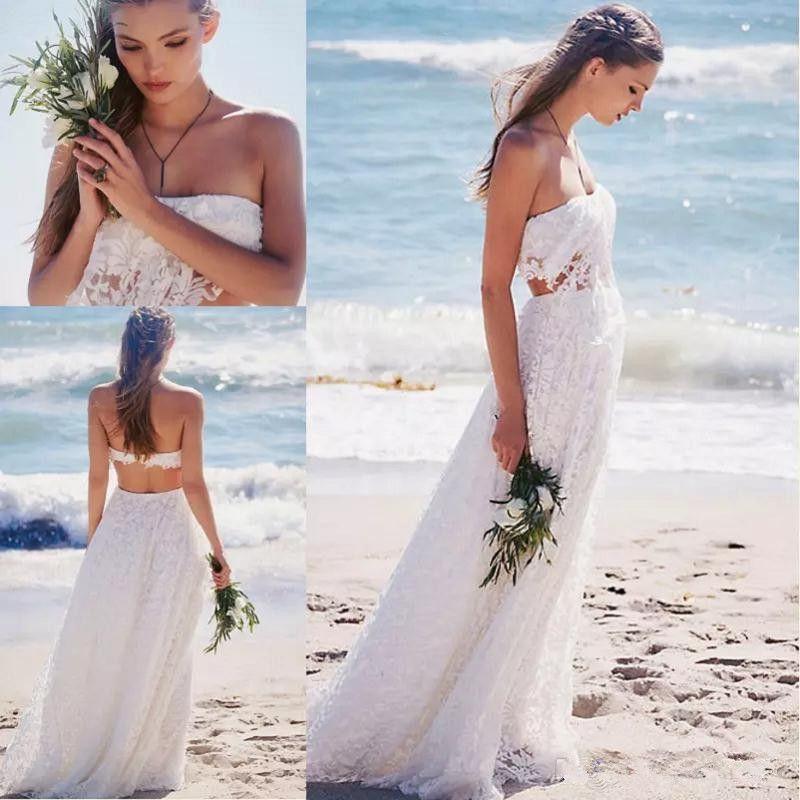 2017 Simples de Duas Peças de Praia Boho Vestidos de Casamento Branco Rendas Verão Comprimento Do Assoalho Sem Encosto Longo Boêmio Vestidos de Noiva