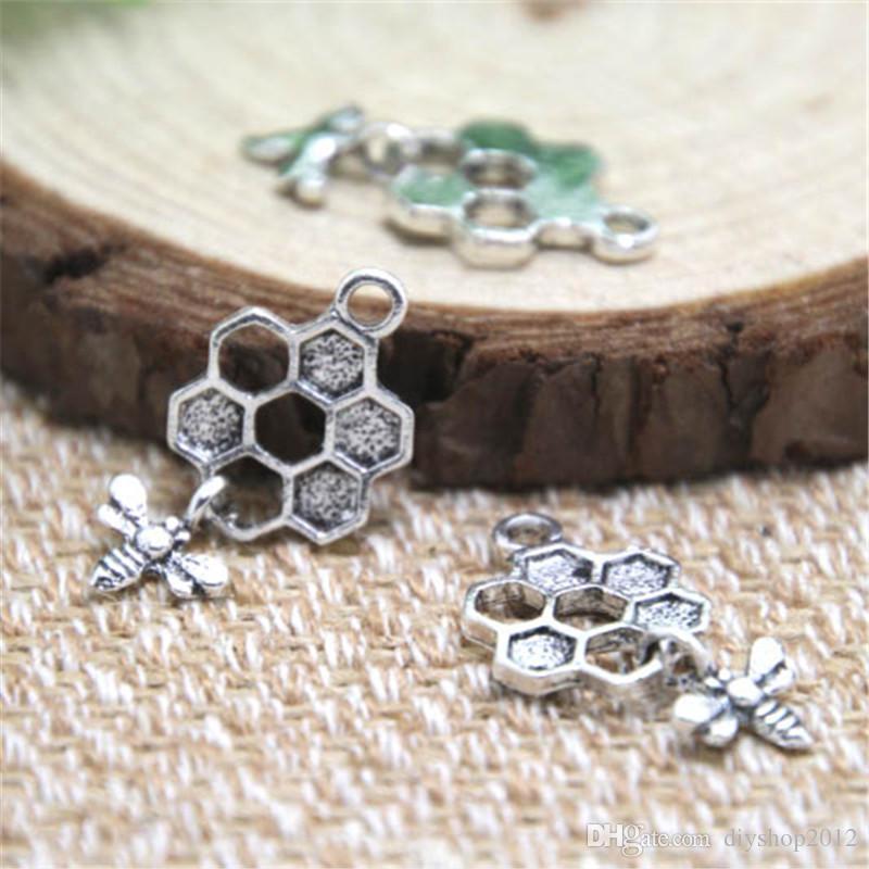 30pcs- Encantos de abeja y panal de abejas, antiguos colgantes de abeja de plata tibetana y encantos de panal de 13 x 20 mm