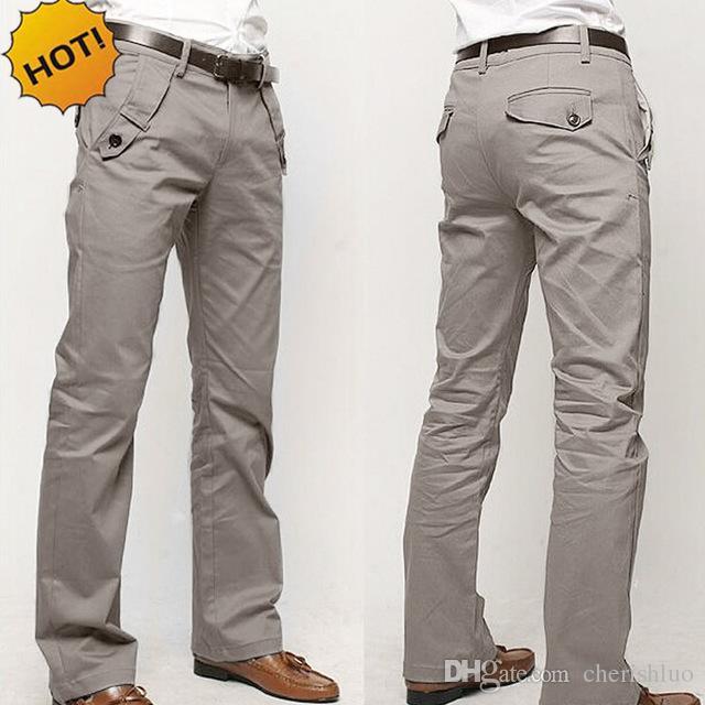 Top Quality 2017 Business Wokout Casual Slim Fit 4 tasche dritto 100% cotone pantaloni uomo solido kaki / nero / grigio tuta pantaloni della tuta