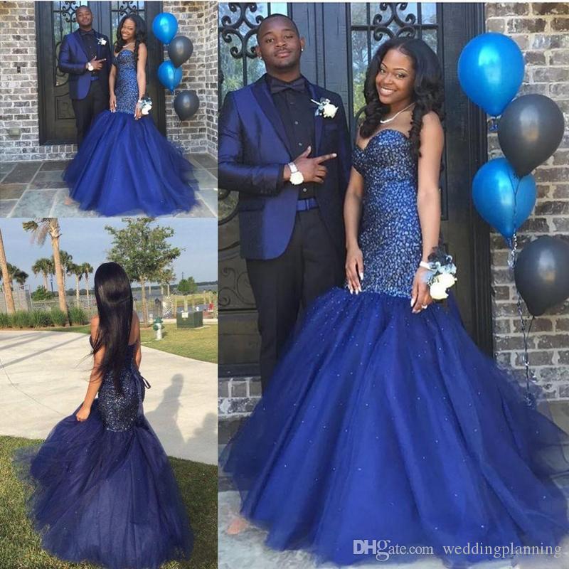 Luxus Marineblau Backless 2K17 Prom Kleider Schatz Sleeveless Sparkling Perlen Paar Mode Meerjungfrau Abendkleid mit Korsett zurück