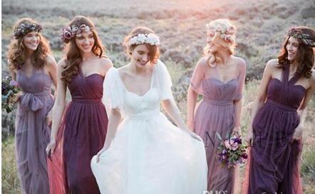 2019 País elegante largo formal vestidos púrpuras para damas encaje cuello colgante sirena barrido de dama de honor gasa vestidos de novia.