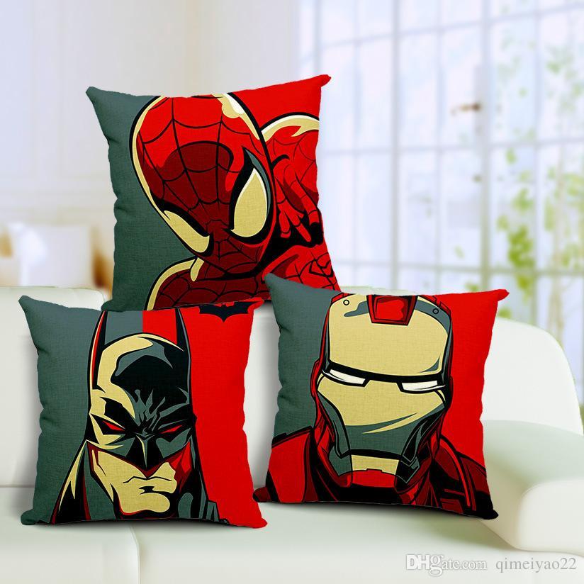 Cushion Cover Batman Iron Man Nordic Cotton Linen Pillow Cushion Case Comfortable Pillow Cover for Home Sofa Decoration Pillowcase
