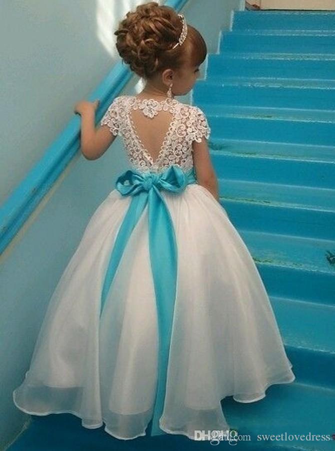 TURQUOISE BLUE WEDDING FLOWER GIRL DRESS SATN SASH BOW