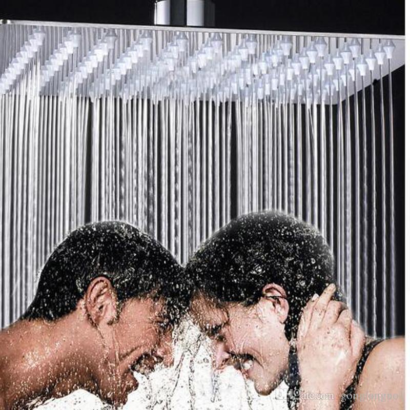 """사치품 12 """"강우 샤워 꼭지 크롬 완성되는 사각 비 목욕탕 스테인리스 샤워기"""