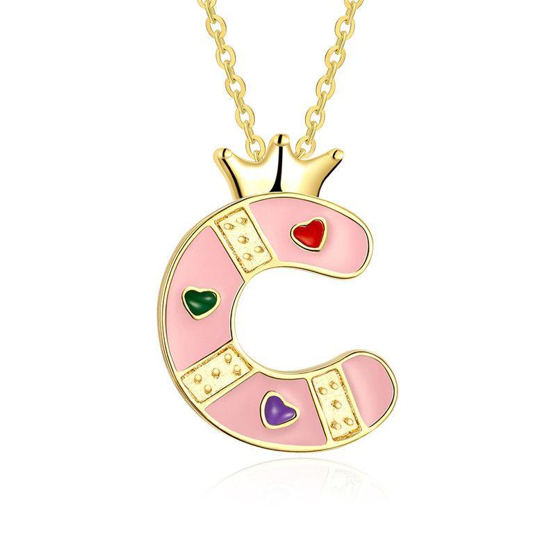 Необычные тонкое мастерство KC позолоченные цветные эмали Корона C алфавит письмо кулон ожерелье для девочек Бесплатная доставка
