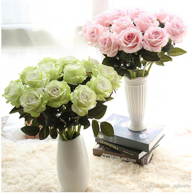 신부 웨딩 꽃 꽃다발은 인공 꽃 12 색 가짜 실크 꽃 생일 파티를위한 화려한 장미 홈 인테리어 장식