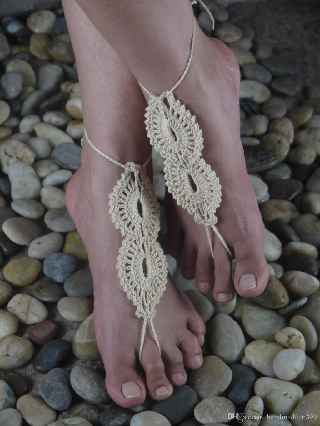 Handmade Beige crochet barefoot sandals /Nude shoes /Bridesmaid accessory /yoga shoes/ lace shoes wedding accessory