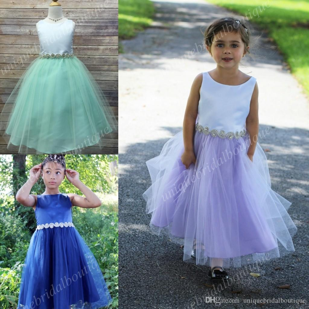 Mint Flower Girls Dresses with Jewel Neck and Crystals Sash Real Images A Line Lilac First Communion Dress for Little Girls