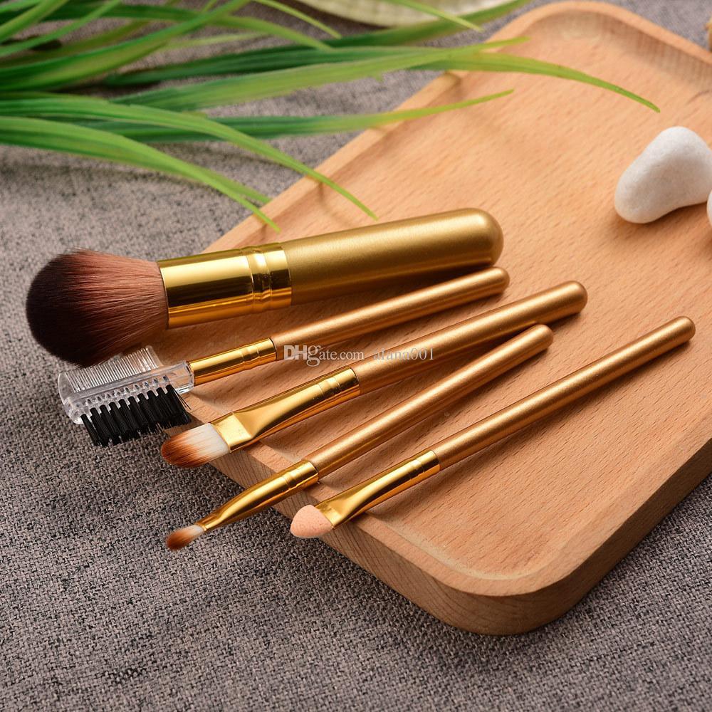 Neue 5 Sätze Make-up Pinsel Set Holzgriff Faser Material Anfänger Make-up Pinsel Werkzeug kleines Geschenk k-201