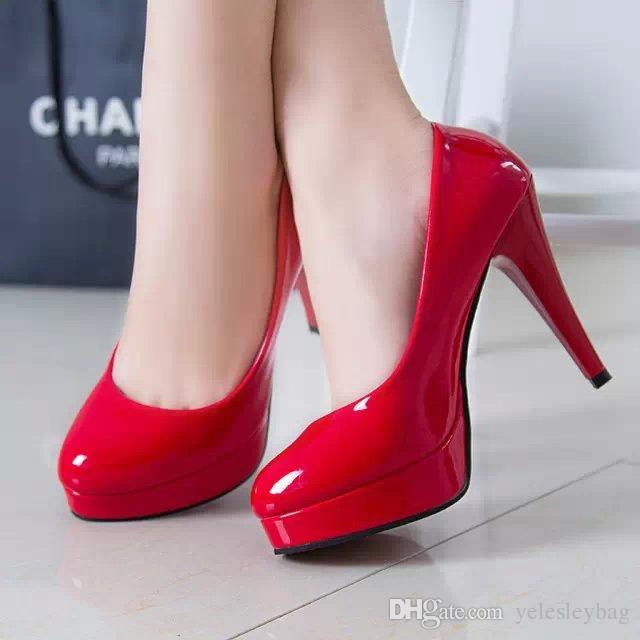 Zapatos de cuero PU de tacón alto impermeables zapatos de vestir nupciales de la boda plataforma gruesa del talón zapatos de vestir formales con 4 colores