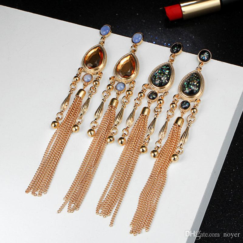 Nouveau gland vintage Dangle boucles d'oreilles pour les femmes de la mode couleur cristal diamant diamants pendantes boucles d'oreilles bijoux accessoires