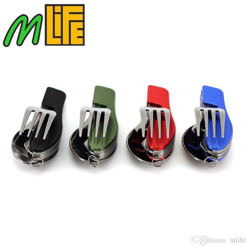أدوات التخييم أدوات المائدة سكين التخييم في الهواء الطلق ، 4 in1 متعددة الوظائف للطي ملعقة شوكة سكين مجموعات السفر ، فتاحة KnifeBottle