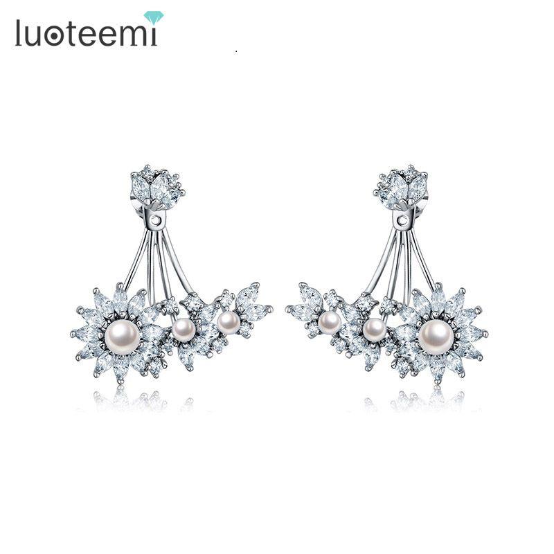 Прекрасный цветок Корея имитация жемчуга серьги с Кристаллом циркония для женщин девушка старинные ювелирные изделия аксессуар LUOTEEMI