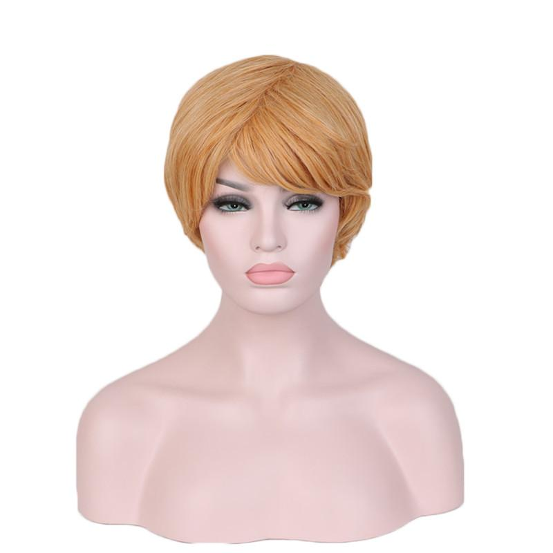 WoodFestival Women natural cheap hair wigs heat resistant short wig white european gold synthetic fiber wigs mix length