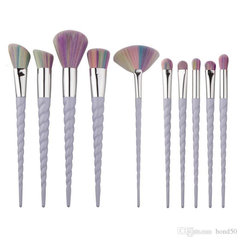 20set Спираль Красочный Pro макияж кисти Set Контур Пудра Тени для век Lip Blush Powder Foundation Кабуки вентилятор кисть 10шт / комплект G10043 EMS DHL