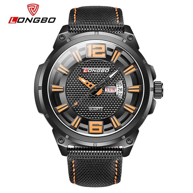 magasins de marque Longbo étudiants montre à quartz étanche de ceinture de loisirs de luxe d'affaires de sport montre des hommes montres hommes