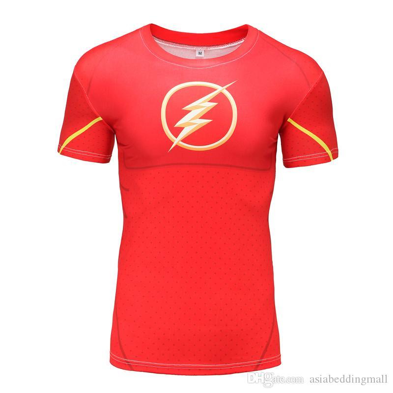 Camisa de compresión Flash 3D impreso Camisetas Hombre raglán de manga corta Flash traje de cosplay Ropa de secado rápido apretado Tops de fitness
