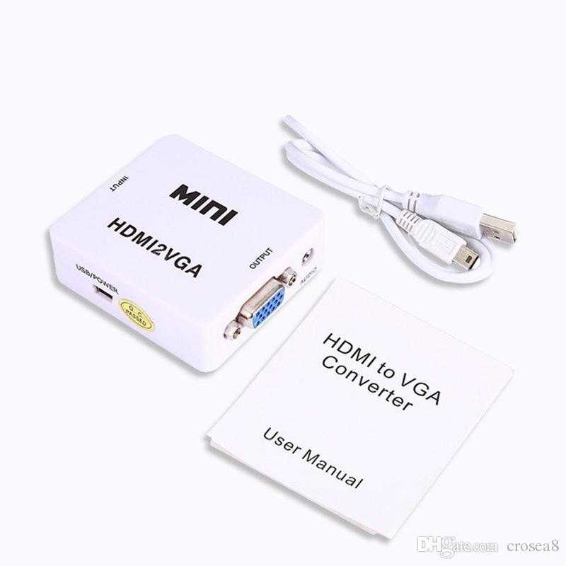 HDMI2VGA HD 1080P MINI HDMI a VGA Convertidor Con Adaptador Audio Video Box para XBOX 360 PS3 PC DVD