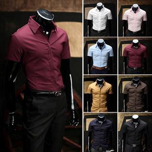 Commercio all'ingrosso- 2014 Nuova marca estiva Plus Size Luxury Casual 8 Color Mens Dress Camicia Slim Fit Adatto a manica corta Fashion Camisa Masculina M-3XL