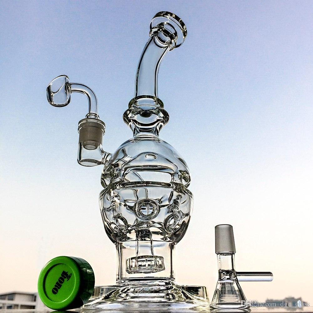 Glass Bongs Swiss Perc Recycler Water Pipes 14.5mm Joint Fab Egg Oil Dab Rig Showerhead Perc Hookahs Pipes Free Shipping MFE012