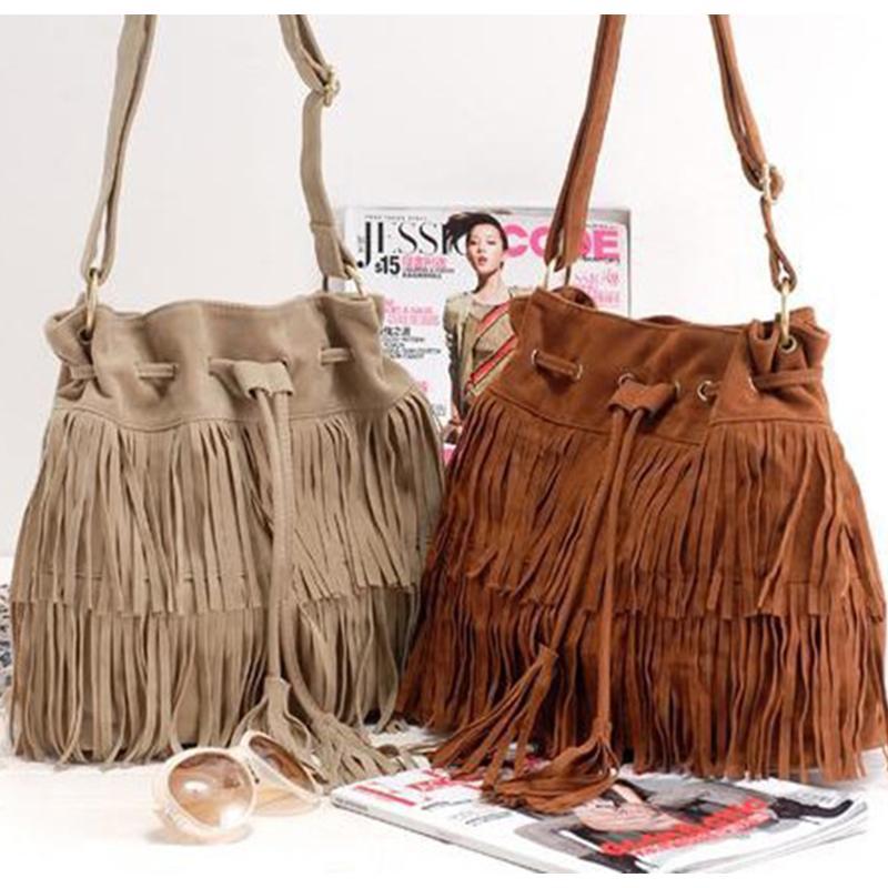 الجملة المرأة حقيبة حقائب حمل أكثر من الكتف CROSSBODY الرافعة الصيف الشرابة محفظة من جلد الغزال هامش كبير كول أنثى بولسا للدراجات النارية