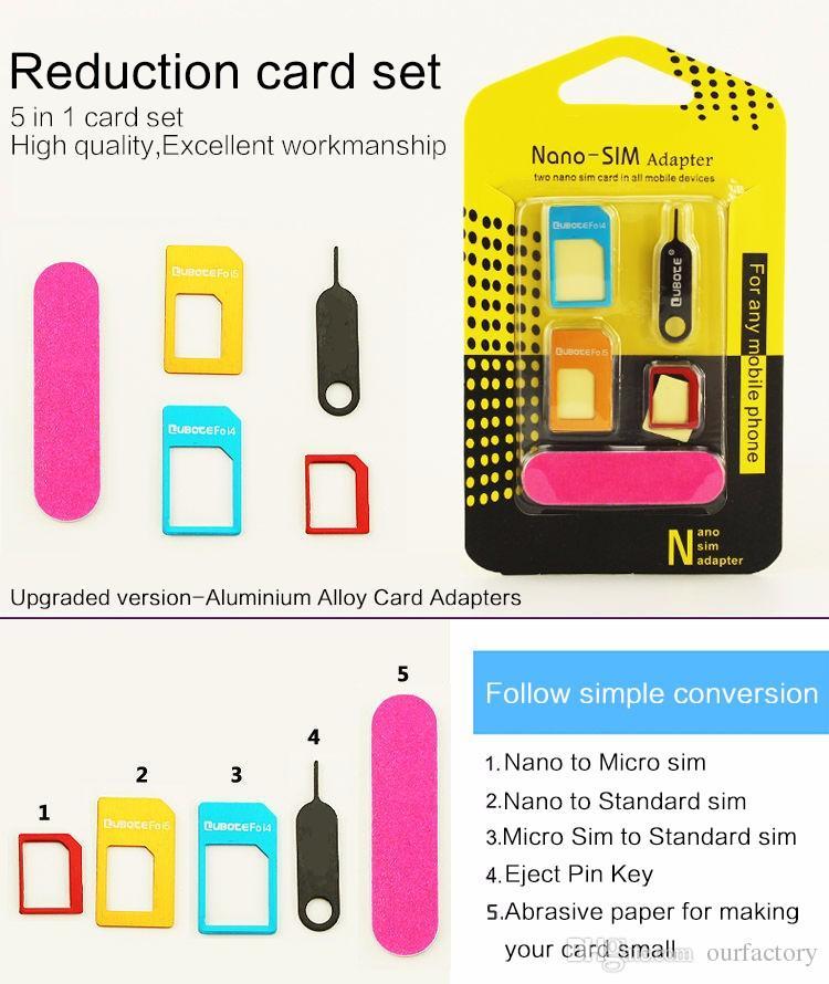 5 in 1 Nano Sim Card Adapters + Regular & Micro Sim + Standard SIM Card & Tools For iPhone 4 4S 5 5c 5s 6 6s 7 Retail Box 500ps/lot