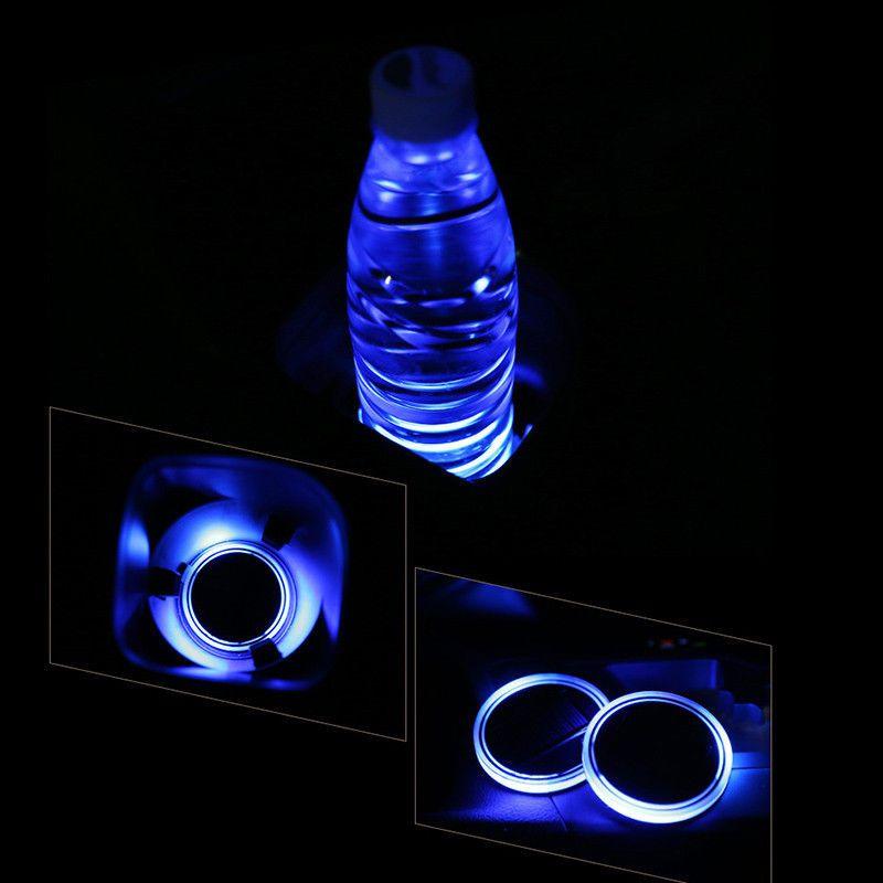 2 Pcs Car Decoration Solar LED Light Atmosphere Cup Holder Cover Bottom Pad