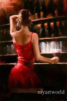 Framed Fabian Perez Impressionism Bar girl in Red Dress,Pure Hand Painted Portrait Pop Art Oil Painting On Quality Canvas.Multi sizes yx-pa