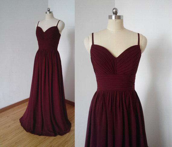 100% de vraies images A-ligne sweetheart -parole longueur robe de demoiselle d'honneur en mousseline de soie plissée fines bretelles retour robe de soirée robe de soirée