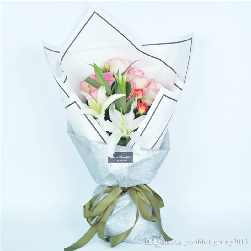 High Grade Fashion Simple Lines Border Flowers Packaging Paper ...