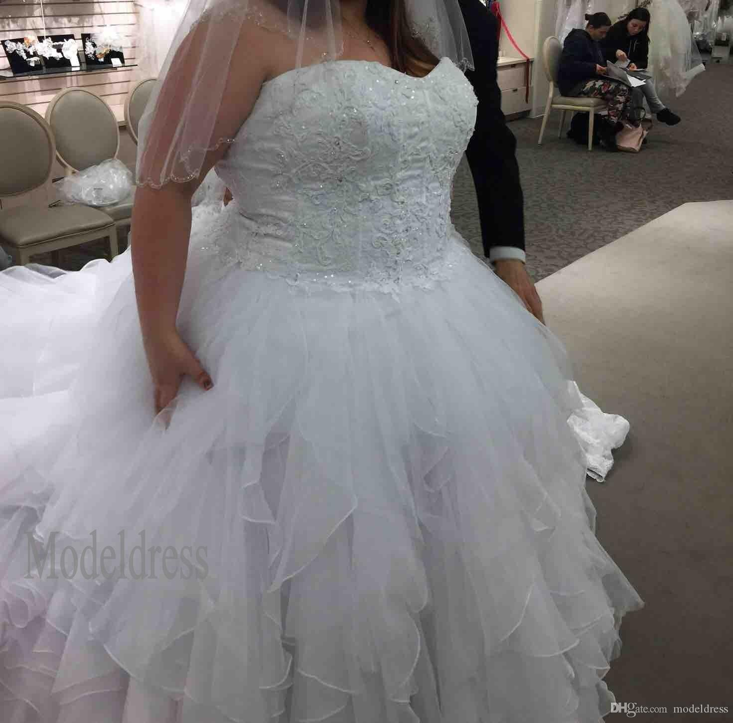 New Oleg Cassini Organza Ruffle Skirt Wedding Dresses Sweetheart ...