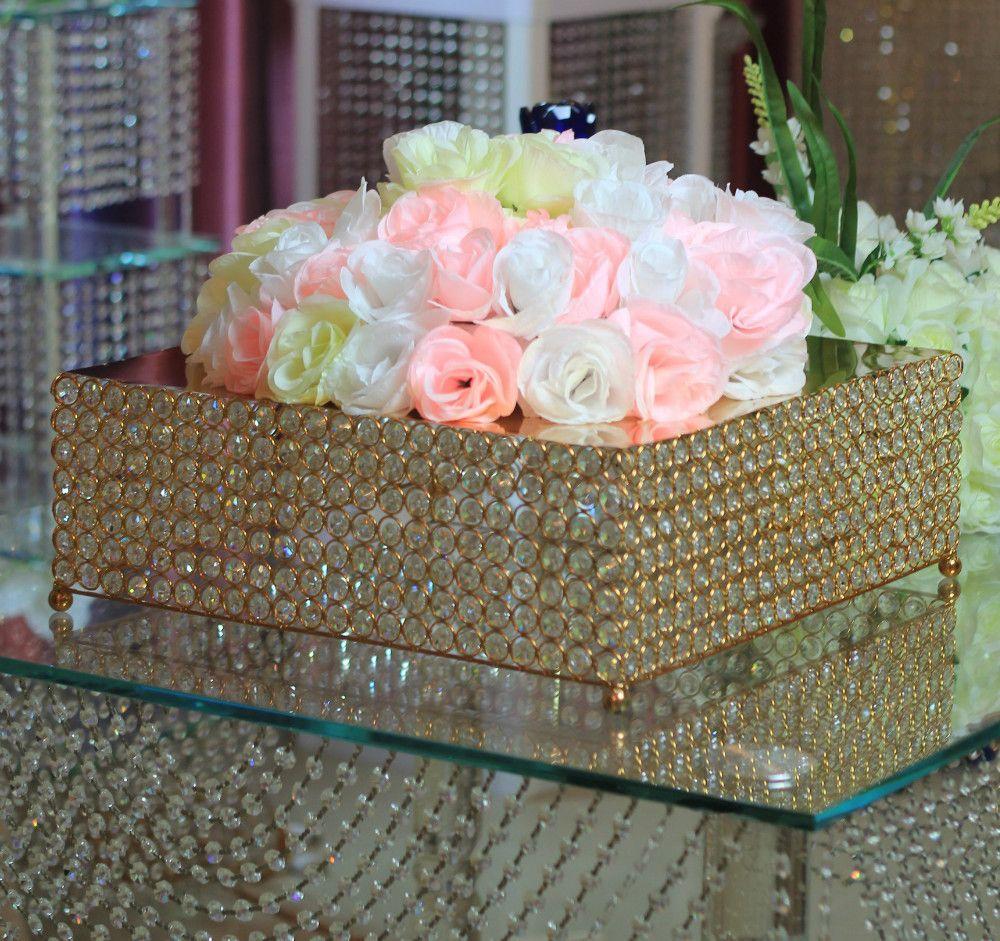 Commercio all'ingrosso libero di trasporto 2 unids / lotto Vassoi del piatto decorativo di cristallo del basamento della torta di cerimonia nuziale Compleanno 46 cm * 46 oro