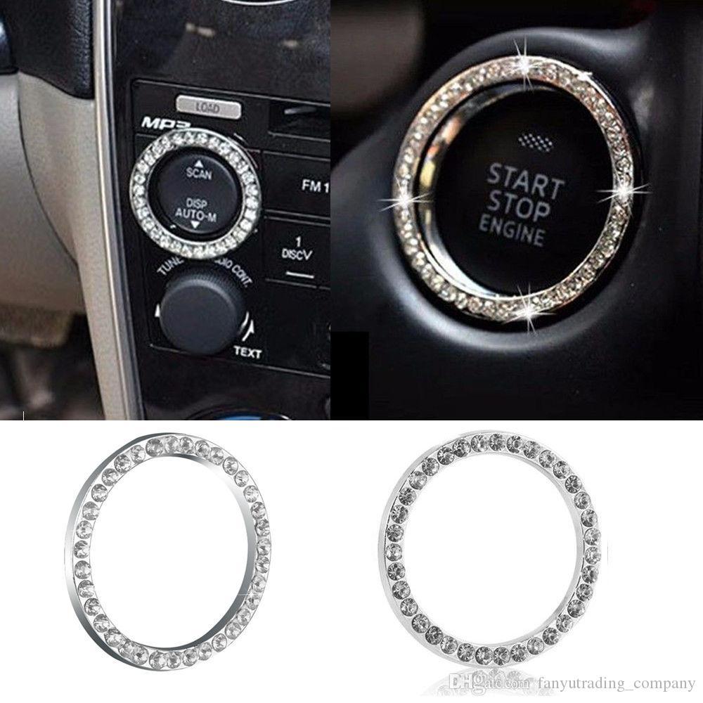 2017 سيارة suv بلينغ الديكور الاكسسوارات 40 ملليمتر قطر زر ابدأ التبديل الفضة خاتم الماس الساخن شحن مجاني
