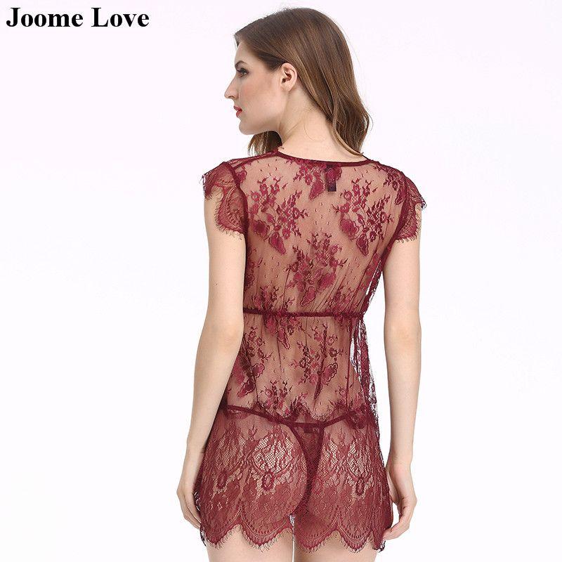 쉬어 슬리핑 드레스 + 끈 팬티 세트 Babydoll 섹시 란제리 레이스 잠옷 류 여성용 섹시한 의상 Hot Nightwear Underwear