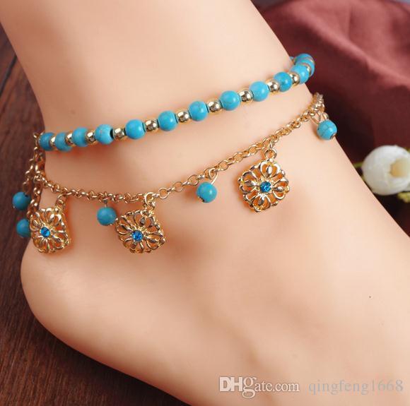 Europäischen und amerikanischen Schmuck böhmischen Stil Türkis Perlen Quaste Diamant Fußkettchen Kombination